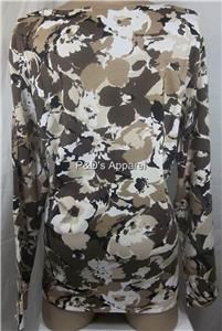 Womens Plus Size Clothing Karen Scott 1x 2X 3X Brown Camouflage Shirt