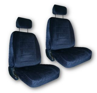 Blue Quilted Velour Car Auto Truck Seat Covers w Head rest Covers 5