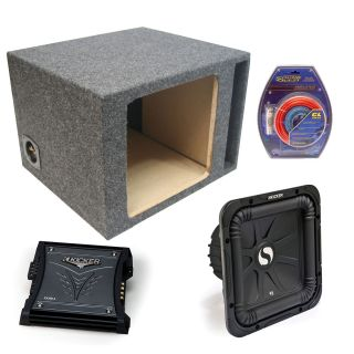 Kicker Car Audio 12 Single S12L3 L3 Square Ported Subwoofer Sub Box