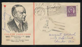 Calvin Coolidge Cacheted Cover Signed by Grace Coolidge