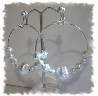 Clip on 2 Stardust Silvertone Non Pierced Hoop Earrings C804 Juicebox