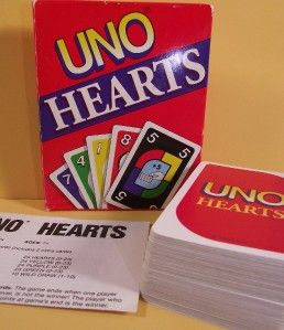 Uno Hearts Card Game Mattel 1995 EX Cond