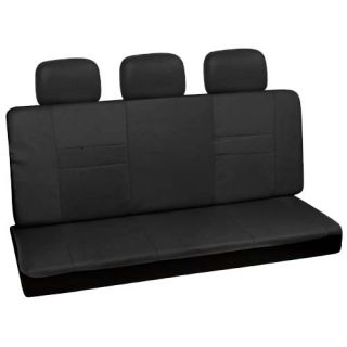 set solid black low back rear bench auto car seat cover plus head rest