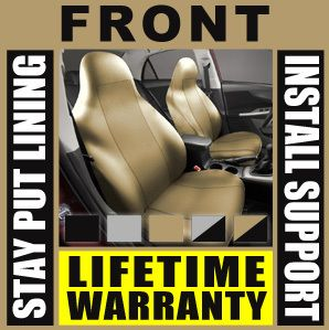 Solid Tan Front Car Seat Covers Set High Back Bucket Pair Truck SUV