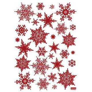 Easy Instant Decoration Wall Sticker Decal   Red Ornate Snowflakes