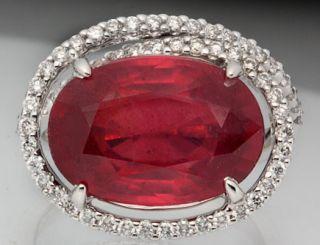 Stunning Genuine Red Ruby Diamond 14k w Gold Ring New