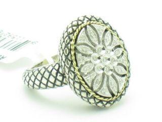 Andrea Candela 18kt & Sterling Silver Oval Diamond Flower Antique Ring