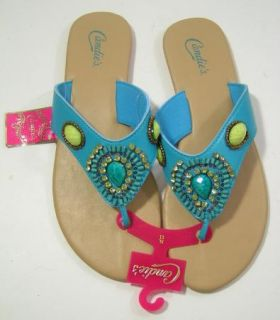 Candies Blue Green Jeweled Beaded Flip Flops Sandals Womens Size XL 11