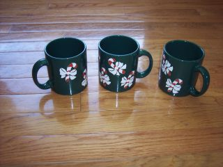 Germany Christmas Candy Cane Mugs Holiday Theme Coffee Cups Set