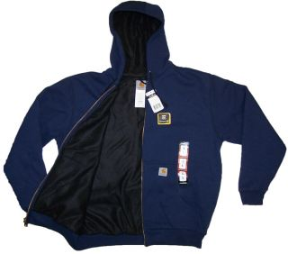 carhartt thermal lined zip up sweatshirt hoodie color navy this