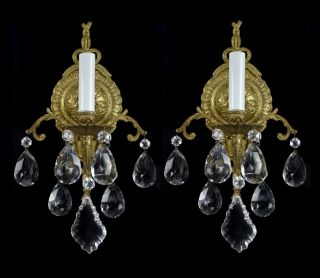 Pair of Antique Sconces Brass Bronze Vintage Crystal Glass Regency