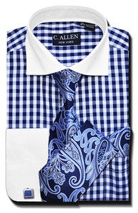 Mens Dress Shirts Ties Combo Shirt 16 5 36 37 Woven Tie Cuff Links