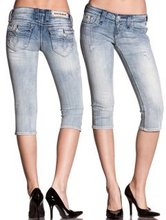 Revival ★ Jeans Wendy P3 Capri Fleur de Lis Crystals RJ8299P3