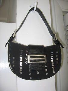 CARLA MANCINI black leather strap silver sequins Designer purse bag