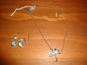 Lee Firefly Silver Crystal Necklace W Earrings  US Canada