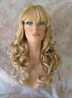 Wigs Long Soft Waves Light Butterscotch with Pale Blond Highlights Wig