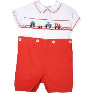 Red White Smocked w Train Baby Boy Shortall Carriage Boutique