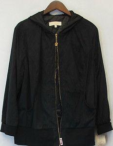 Mariah Carey Stretch Knit Zip Front Hooded Jacket Black Sz 1x New 2nd
