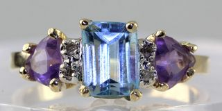 Cut Blue Topaz Trillion Amethyst Diamond 14k Yellow Gold Ring