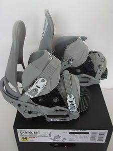 New Burton Snowboards Cartel Est M L Bindings 2013 Cement Grey Mens