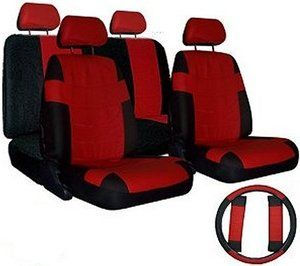 CAR SEAT COVERS Red Black set w/ Steering Wheel Cover & Belt Shoulder