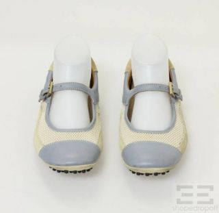 Car Shoe for Prada Beige Mesh Blue Leather Mary Jane Flats Size 37 5