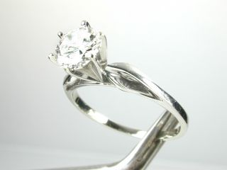 Carat Solitaire Diamond Engagement Ring 6 Prong 14k Solid White Gold