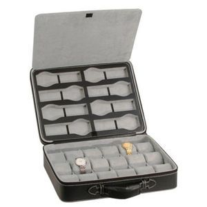 Briefcase Style Watch Case Holds 26 Watches Box Mens Gift Idea