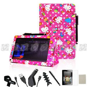 Tablet Kindle Fire Folio Flip Standby PU Leather Case Stylus Hello