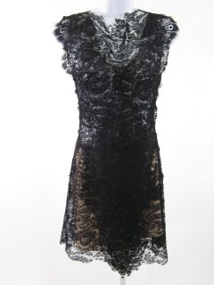 nwt caroline seikaly black lace backless dress 36 $ 1610