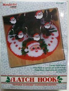 New Caron Latch Hook Christmas Tree Skirt Kit Candy Cane Santa Heads