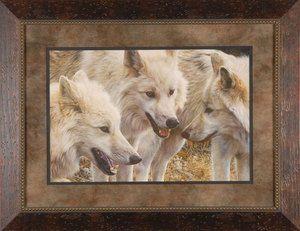 Tundra Summit Carl Brenders Wolves Wildlife 3 Solid Wood Framed Art