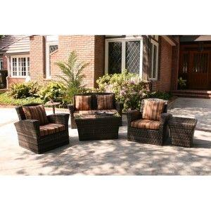 Garden & Casual Five Piece Wicker Outdoor Furniture Patio Deep Seating