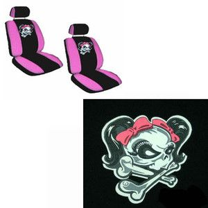 Pink Bow Skeleton Black Low Back Bucket Car Seat Covers Set Fit