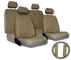 Car Seat Covers TAN BEIGE SET w/ Steering Wheel Cover Bonus pkg FREE