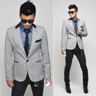 Stylish Mens Slim Fit One Button Casual Suit Pop Blazer Black White