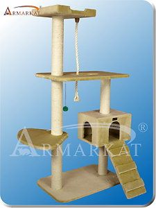 Cat Tree A5801 Beige 5 Level Cat Scratching Tower Condo Cat Toy