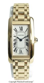 New Ladies Cartier Tank Americaine 18kt YG Box Papers Warranty