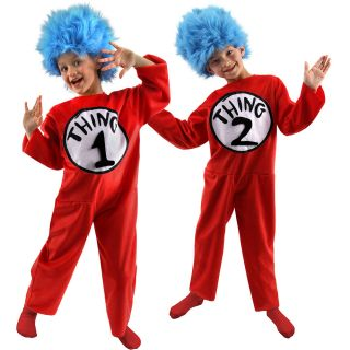 Dr Seuss The Cat in The Hat Thing 1 and Thing 2 Child Costume