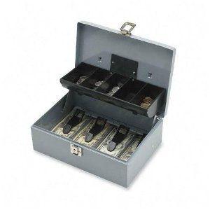 Cash Box 5 Compartments Lock 2 Tray Steel Locking Security Money Key