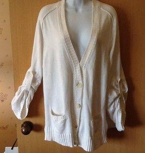 Michael Kors White Sweater Jacket Sz Large