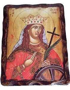 Saint Catherine The Great Martyr Orthodox Icon on Wood Handmade Greece