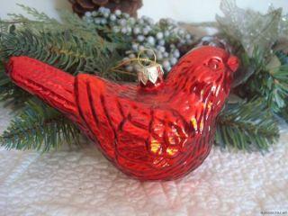 RAZ IMPORTS ~ RED CARDINAL CHRISTMAS TREE ORNAMENT Blown Glass Bird