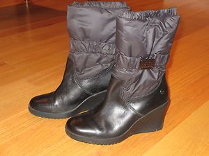 Ugg Australia Cassady boots black wedge heel nylon 1943 Womens boot 7