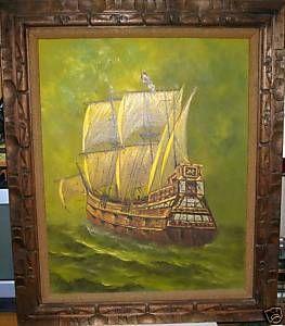 Carl Valente Original Oil Canvas Pirate SHIP Painting