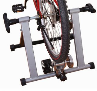 Bike Trainer Indoor Exercise Bicycle Cycling Kinetic Folding Silver