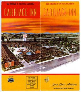 Carriage Inn Motor Hotel Brochure Van Nuys California 1960s