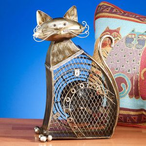 Deco Breeze Decorative Small Cat Figurine Table Fan