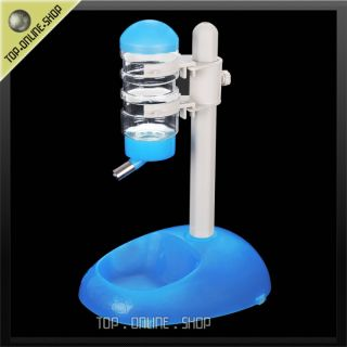 One Piece Pet Dog Cat Water Food Stand Blue Plastic Bottle Feeder Dish