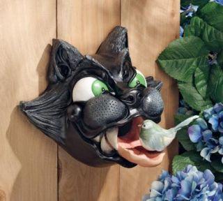 cat birdhouse garden wall sculpture